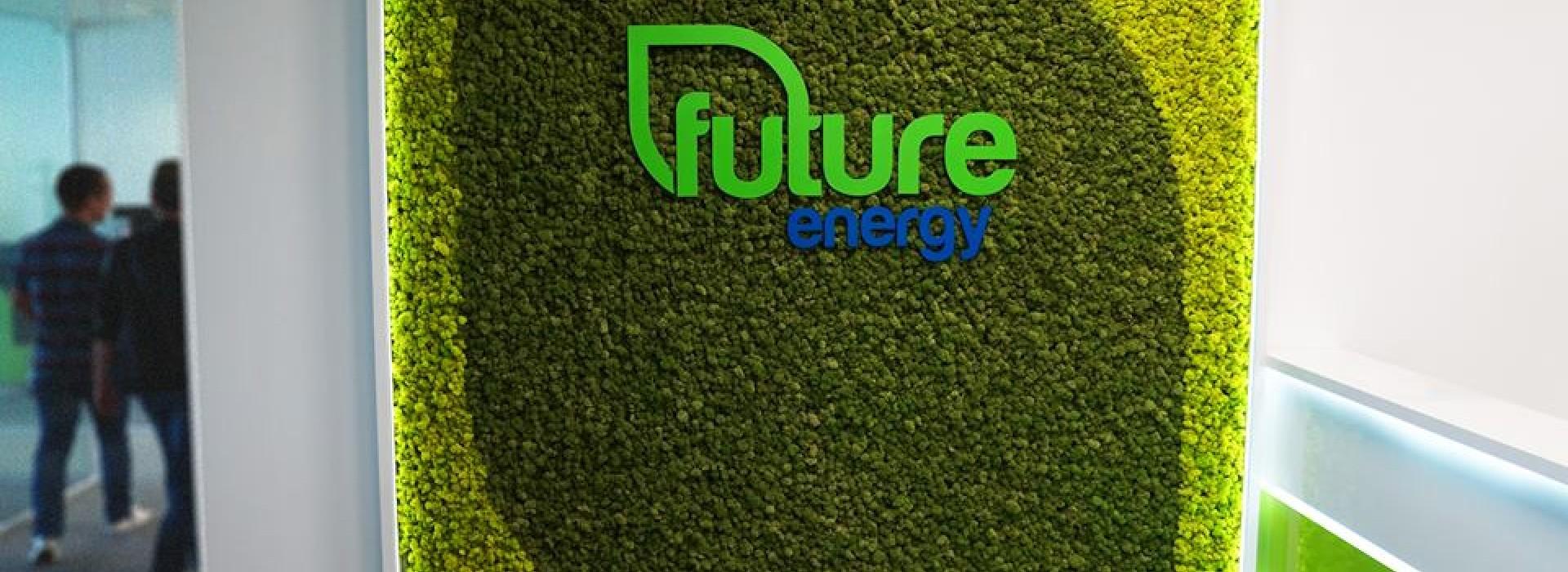 Зелена стена от скандинвски мъх с лого